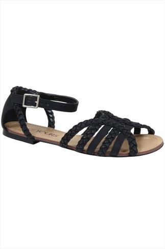 Black Plaited Strap Sandal In EEE Fit