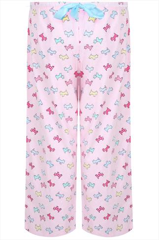 Pale Pink Scottie Dog Print Brushed Pyjama Trousers