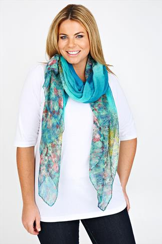 Peacock Multi Blurred Floral Print Scarf