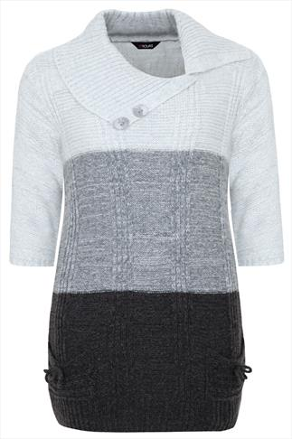 Grey Tonal Block Stripe Knitted Tunic With 3/4 Length Sleeves