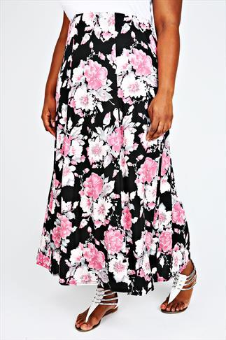 Pastel Pink & Black Floral Maxi Panelled Skirt