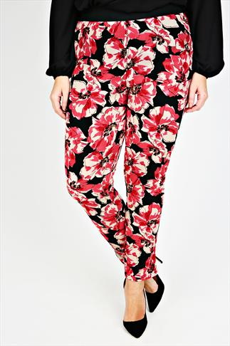 Red And Black Poppy Print Cigarette Trousers