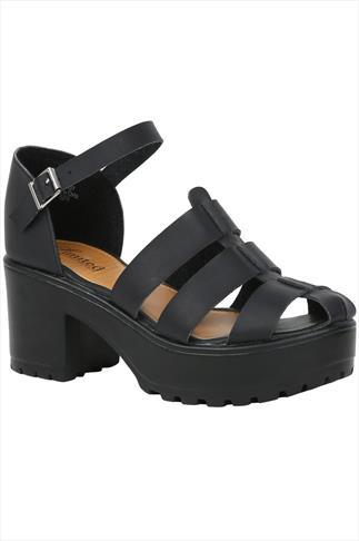 Black Platform Gladiator Wide Fit Sandals