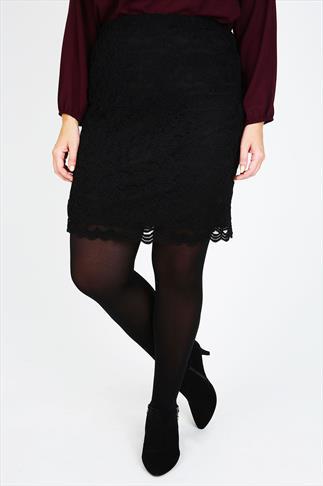 Black Lace Mini Skirt With Elasticated Waist