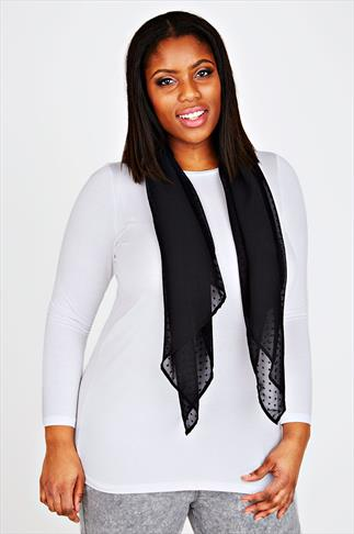 Black Sheer Dotty Scarf