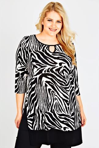 Black & White Zebra Print Longline Top