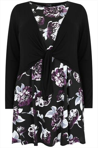 Black & Purple Rose Print Longline 2 in 1 Top With Tie Front Overlay
