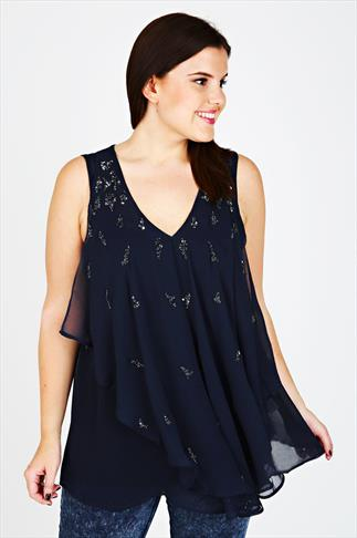 Navy Embellished Frill Front Sleeveless Blouse