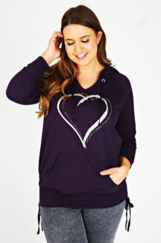 Purple Foil Heart Print Pull Over Hoodie