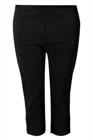 Black Pull On Stretch Bengalin Cropped Trousers