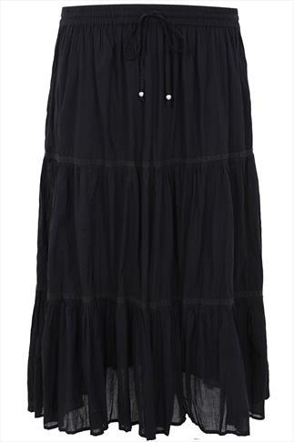 Black Cotton Voile Maxi Skirt With Crochet Detail