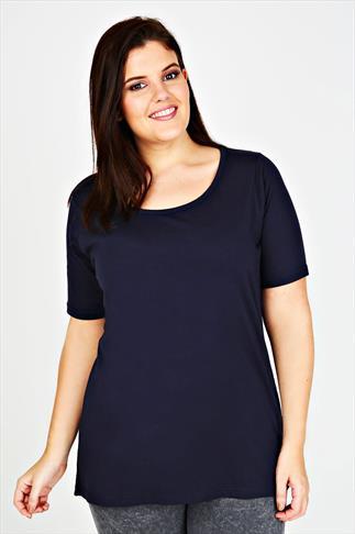 Navy Scoop Neck Cotton T-Shirt