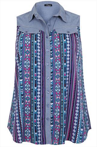 Aztec Print Sleeveless Shirt With Denim Collar & Back Panel