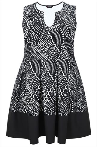 Black & White Aztec Flocked Skater Dress With Black Band