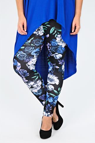 Black & Blue Rose Floral Leggings