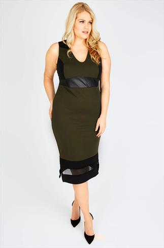Black And Khaki Bodycon Dress With Mesh Detail
