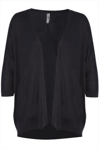 Black Fine Knit Batwing Cardigan