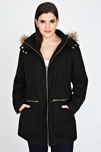 Black Velour Coat With  Fur Trim Hood