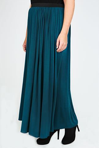 Teal Maxi Skirt With Elasticated Waistband