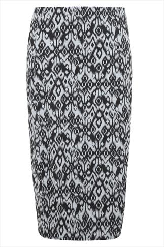 Black And Grey Aztec Print Maxi Tube Skirt