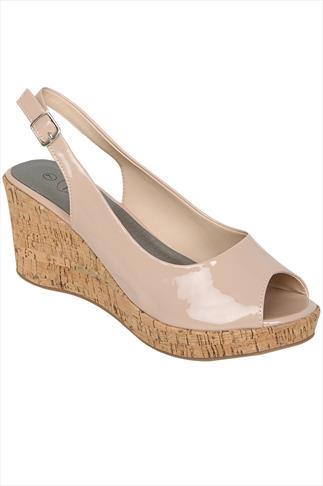 Nude Patent Peep Toe Cork Wedge Sandal In A EEE Fit