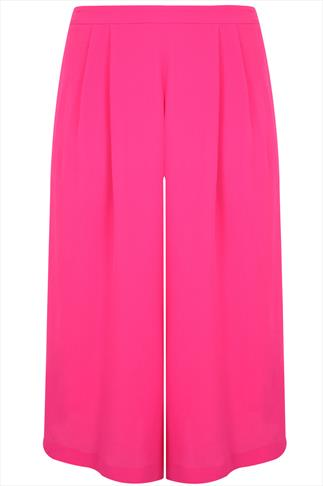 Magenta Crinkle Viscose Culottes With Elasticated Waist