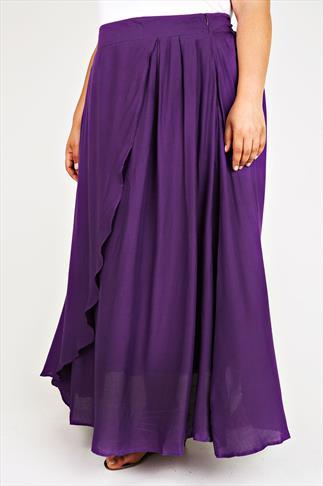 Purple Wrap Over Maxi Skirt