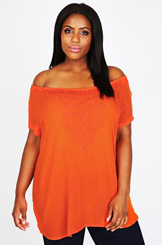 Orange Short Sleeve Gypsy Blouse With Embroided Neckline