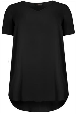 Black V-Neck Chiffon Top With Pleat Back And Dipped Hem