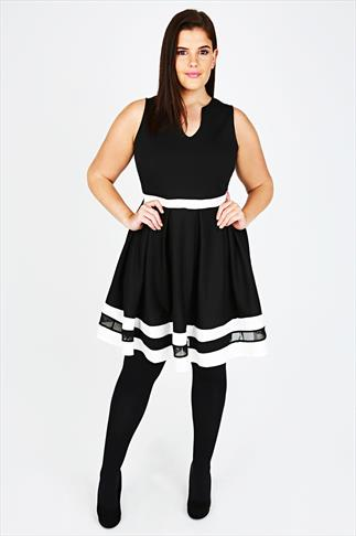 Black, White & Mesh Stripe & Waistband Skater Dress