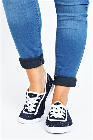 Navy And White Polka Dot Lace Up Canvas Pumps In EEE Fit