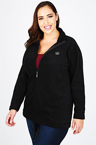 Black Turtle Neck Zip Up Microfleece With Front Pockets