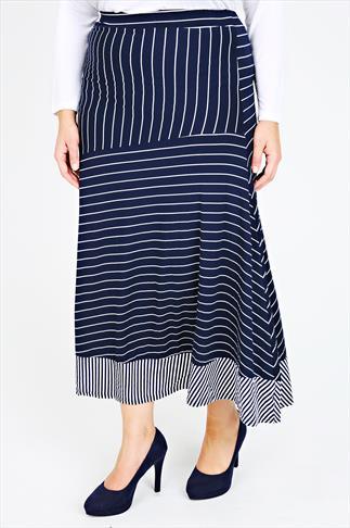 Navy & White Stripe Print Jersey Maxi Skirt With Panel Detail