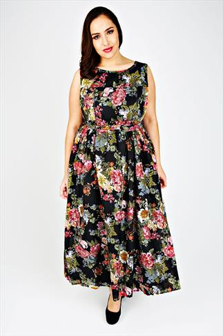 Floral Print Cotton Maxi Dress With Bead Embellishment