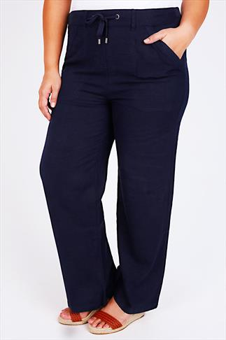 """Navy Linen Mix Full Length Trousers With Four Pockets 32"""""""
