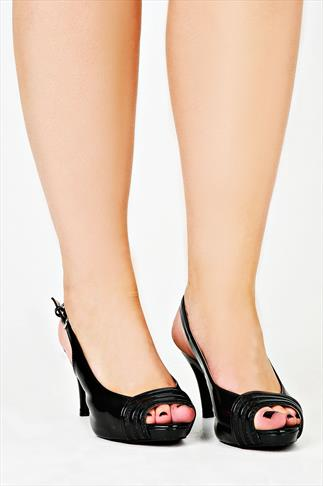 Black Patent Peep Toe Slingback Heel In EEE Fit