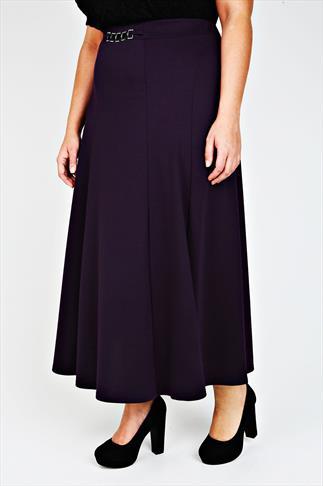 Purple Diamanté Trim Waist Panelled Skirt