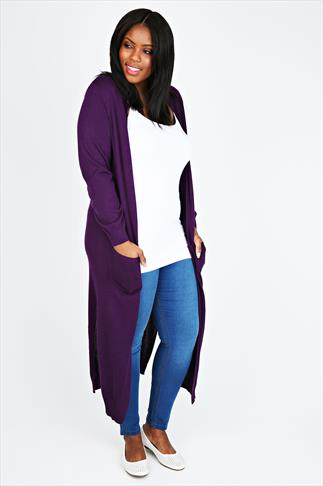 Purple Knitted Extra Long Length Cardigan With Pockets