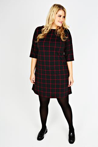 Black And Red Checked Print Dress With 3/4  Length Sleeves