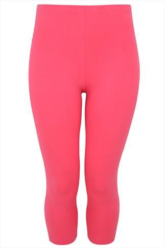 Watermelon Pink Cotton Elastane Cropped Leggings