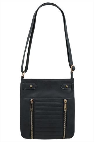 Black Double Zip Across The Body Bag