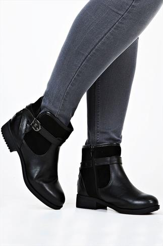 Black Leather Look And Suedette Contrast Ankle Boots In EEE Fit