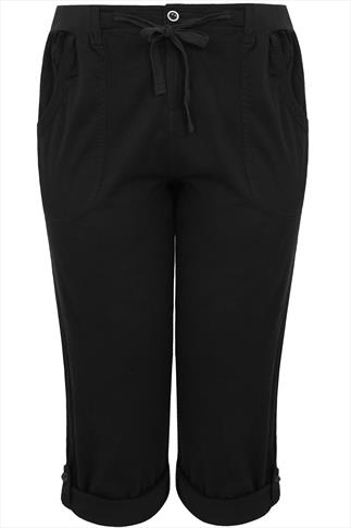 Black Cotton Twill Full Length Roll Up Trousers
