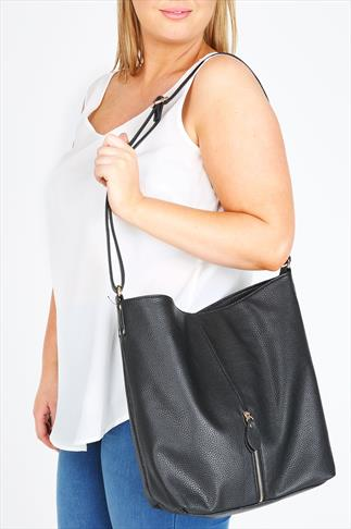 Black Slouch Shoulder Bag With Front Zip Detail