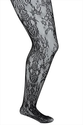 Black Lace Pattern Tights