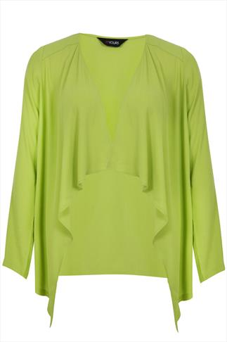 Lime Edge to Edge Waterfall Crepe Lightweight Jacket