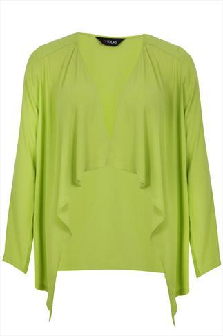 Lime Edge to Edge Waterfall Crepe Lightweight Jacket