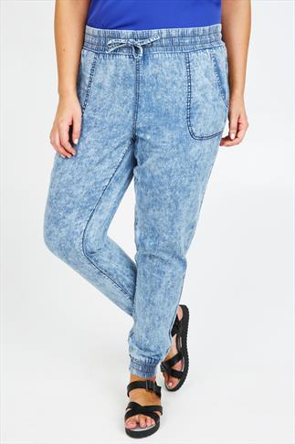 Light Blue Acid Wash Slouch Jeans With Cuffs