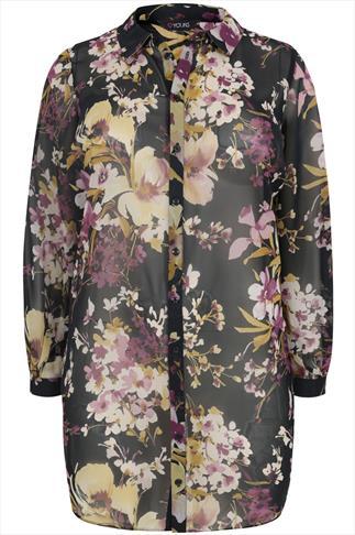 Multi Floral Print Longline Shirt