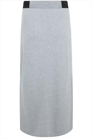 Grey Elasticated Waist Jersey Maxi Skirt